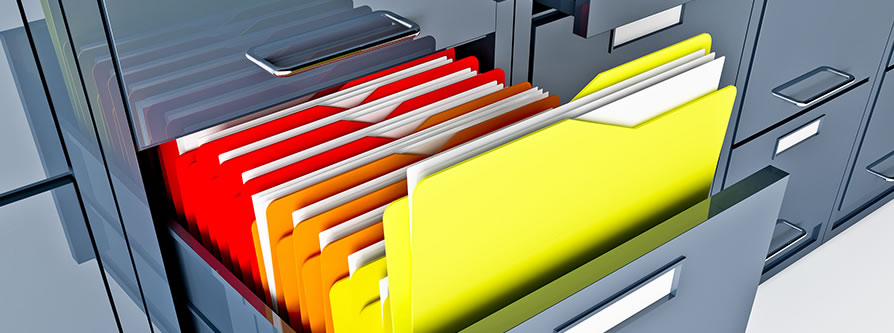 filing cabinet with brightly colored folders